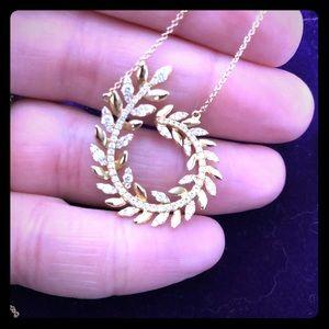 Jewelry - Diamond and 18k laurel leaf necklace